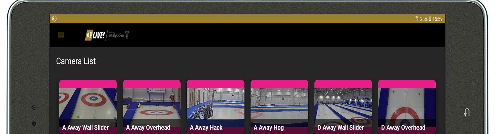Partial view of the AP Live application, running on a tablet, showing six of the sixteen available cameras which are trained on the ice at the GB Curling Academy.